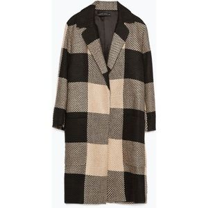 Zara Checked Coat with Lapel